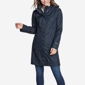 Eddie Bauer Black Rain Trench Coat Size S